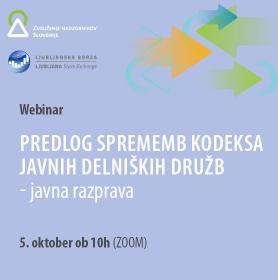 Predlog sprememb Slovenskega kodeksa upravljanja javnih delniških družb - javna razprava